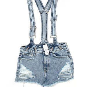 CARMAR denim jean overalls suspender shorts LF